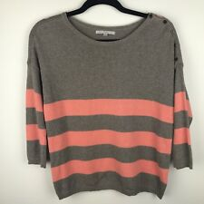 GAP Womens 3/4 Sleeve Stripe Pullover Sweater Boatneck Taupe Melon Sz XS