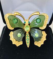 Joan River Faux Jade Rhinestone Butterfly Pin Brooch