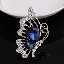 Rhinestone Butterfly Brooch Pin Silver Plated Clear with Blue