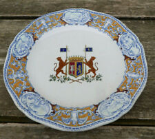 French Gien plate 1870 Renaissance Italienne style Heraldique Armorial