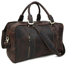 Men's Genuine Leather Travel Luggage Duffle Gym Shoulder Bags Weekender Handbag