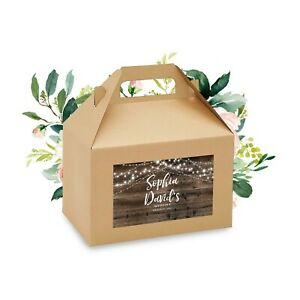 8 Rustic Wedding Gable Box Labels, Outdoor Wedding Favor Gift Box Stickers