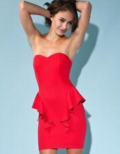 Womens Lipsy New Red Peplum Bodycon Sweetheart Dress Size 10