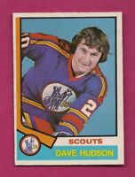 1974-75 OPC # 335 SCOUTS DAVE HUDSON  ROOKIE EX CARD (INV# A5901)