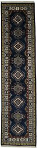 Navy Kazak Tribal Geometric 2'5X10 Oriental Runner Rug Handmade Farmhouse Carpet