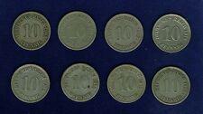GERMANY EMPIRE 10 PFENNIG COINS: 1902-A, 1904-A, 1905-A, 1907-A, 1908-A, 1912-A,