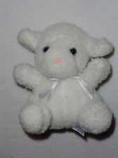 Plush Stuffed  White Lamb Rattle Jenny Pets J Elsner Co Baby Toy Pink Nose