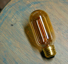 Lot: 4 Radio Style Light Bulbs Tubular Smoked Amber Glass Vintage Edison 30 Watt