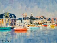 "9""X12"" AskArt Listed Nino Pippa Original Oil Painting Normandy - Dieppe Harbor"
