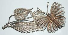 925 Sterling Silver Butterfly Floral Leafed Brooch Pin 15 Gr ~Br9~