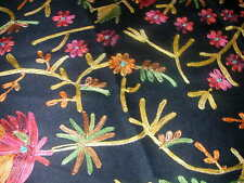 New 100% Wool Floral Embroidered Black Scarf or Wrap