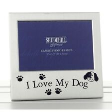 Satin Silver Metal Freestanding I Love my Dog Photo Frame Pet Gift 14x13.5cm