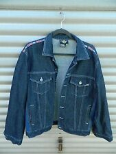 Vintage DM's Dr Doc Martens denim blue Jean Jacket British Flag accents Large L