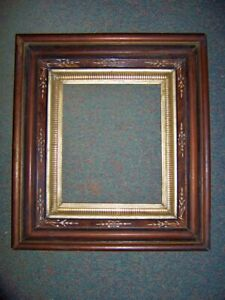 ANTIQUE WALNUT DEEP  PICTURE FRAME inset bands gold  with details pretty