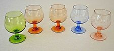 Vintage Brandy Snifter Bar Glasses  5 Mini Stemmed Amber Blue Pink Green Glass