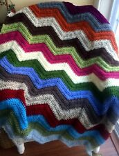 CROCHET blanket afghan couch throw baby chevron ripple handmade VANNA multicolor