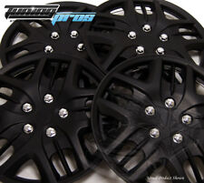 """Snap-On Hubcap 15"""" Inch Wheel Rim Skin Cover 4pcs Matte Black - 15 Inches #025"""