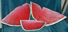 LARGE HAND PAINTED WATERMELON WEDGES FROM TREE LOG!