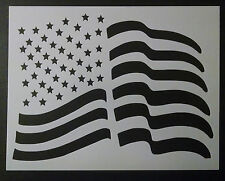 "USA US American Flag Waving Wave Wavy 8.5"" x 11"" Stencil FAST FREE SHIPPING"