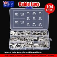 104X Copper Lug Cable Lugs Kit 6mm 10mm 16mm 25mm 35mm 50mm Battery Terminal 4WD