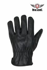 Leather Gloves Deer Skin Snug Fit w/ Creased Wrists Black