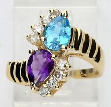 Diamond blue topaz amethyst ring 14K y/ gold pear round brilliant 1.25CT sz4 3/4