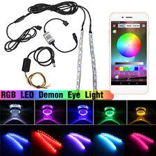 RGB LED Demon Devil Eye Headlight Lens Retrofit bluetooth APP Control Remote