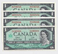 4 X 1967 $1 Bank of Canada Notes With S/N - AU