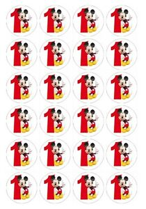 24 x Mickey #1 1st Birthday Edible image cupcake toppers Pre-Cut