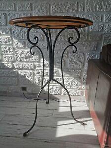 Belle Table Haute - mange debout Hauteur 100 cms, plateau bois 70 cms diametre