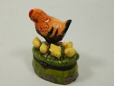 Chicken Hen Chickadee Chicks in Grass w/ egg TRINKET BOX