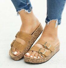Tan Faux Leather Double Strap Cork Platform Buckle Slides Sandals Casual Womens