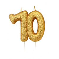 70th Birthday Gold Candle Anniversary Glitter Age Number Party Cake Topper Gift