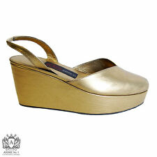 ANDRE No. 1 Women's Mettalic Gold Leather Platform Slingbacks, US 6 >HANDMADE<