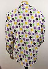 Vintage 70s estilo Fresh Prince Crazy psicodélico Lunares Festival fuerte Camisa XXL
