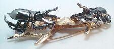 "Huge 3.25"" Sterling Silver Oxidized Beetle On Gold Leaf Brooch Pin 31.3g Signed"