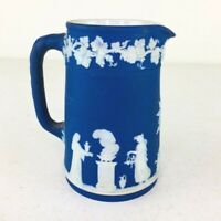 Antique Wedgwood Cobalt Blue Jasperware Pitcher Creamer Neoclassical Relief