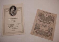 Vintage 1920 Music Program Recital Geraldine Farrar Mizpah Auditorium Syracuse