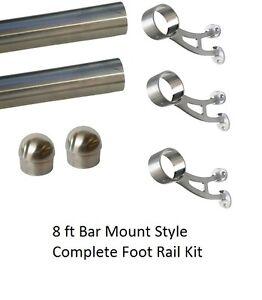 8 ft Brushed Stainless Steel Foot Rail Kit - 3 Bar Mount Brackets & 2 Domed Caps