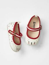 GAP Baby Girls Size 0-3 Months Ivory Red Kitty Cat Mary Jane Ballet Flats Shoes