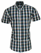Check Fitted Button Down Casual Shirts & Tops for Men
