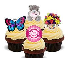 Happy Birthday Mum Edible Cupcake Toppers, Standup Fairy Cake Bun Decorations