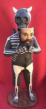 Tlaquepaque Ceramic Pablo Goche XL Huge Skeleton Devil Holding Human Face Mask