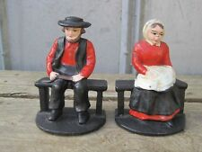 Vintage Cast Iron Amish Man & Woman On Bench Statue Sculpture Bookends B8376