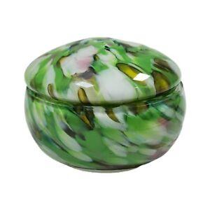 "VINTAGE END OF DAY SPATTER ART GLASS COVERED POWDER TRINKET JAR PILL BOX 3"" PINK"