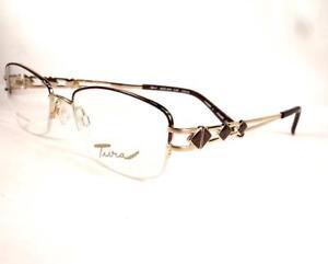 Tura 593 Coffee Gold Eyeglasses Women Ladies Semi Rimless Designer New 53-18-135