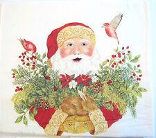 Alice's Cottage Cotton Flour Sack Kitchen Tea Towel Christmas Santa Birds  - NEW