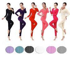Womens 2pc 100% Cotton Waffle Knit Thermal Underwear Long John Top & Bottom Set
