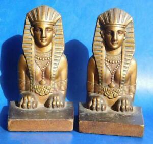 Excellent Quality Antique Bronze Egyptian Sphinx Bookends c1920s Art Deco