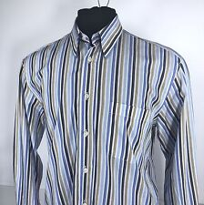 CANALI Sportswear Large Long Sleeve Striped Shirt - Concealed Button Down